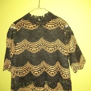 Black and Gold lace top